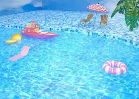 游泳池3D螺纹自然工程素材下载包括c4d/obj/3手工模型模具设计6图片